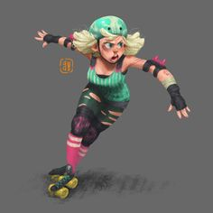 Roller Derby!!, Gop Gap on ArtStation at https://www.artstation.com/artwork/D9eGR