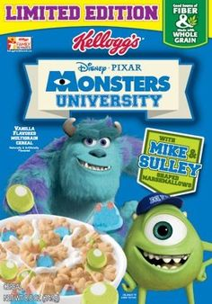 Mousetalgia Becky approved and the new limited edition Monster's University cereal may contain less sugar than your daily yogurt! New Cereal, Kids Cereal, Cereal Boxes, Cereal Food, Crunch Cereal, Monsters University, Discontinued Food, Best Breakfast Cereal, Cereal Packaging