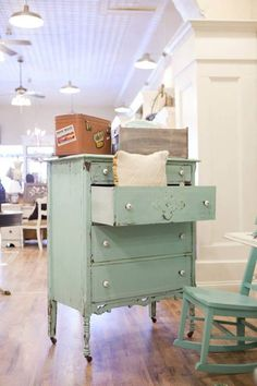 Dresser painted with Miss Mustard Seed's Eulalie's Sky and white wax to bring out the details! From Raise The Bar - Vintage