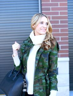 sweater and camo jacket