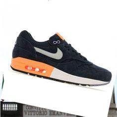 Uomini Sneakers Nike Air Max 1 Premium ossidiana scuro / arancio / argento 2015 mesh scarpe sportive Online