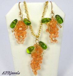 Grape Earrings And Pendant/Orange/Fashion Jewelry/Handmade/Everyday/Party/Gift on Etsy, $15.00