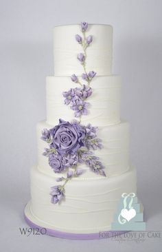 Beautiful Cake Pictures: Pretty Lilac Flowers on White Wedding Cake - Flower Cake, Wedding Cakes - Round Wedding Cakes, Purple Wedding Cakes, Wedding Cakes With Flowers, Cool Wedding Cakes, Beautiful Wedding Cakes, Gorgeous Cakes, Wedding Cake Designs, Pretty Cakes, Wedding Cake Toppers