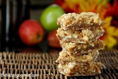 Caramel Apple Crisp Bars | This dessert bar recipe is so good, you won't be able to have just one square.