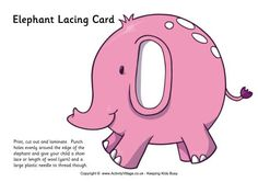 This cute pink elephant is sure to appeal to young children. Make it into a lacing card using the instructions provided and you have a great exercise to increase fine motor skills. Lacing Cards, Letter F, Pink Elephant, Bible Stories, Business For Kids, Fine Motor Skills, Print And Cut, Cute Pink, Your Child