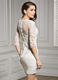 scoop neck shortmini lace wedding dress