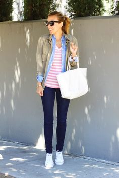 Errands day with layered khaki jacket, chambray shirt, striped tee and large tote