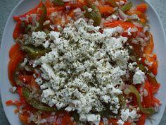 Salade van geroosterde paprika's.