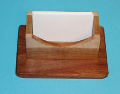 Cherry and Shedua Business Card Holder Desk Organizer by woodhut