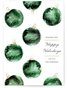 """Watercolor ornaments"" - Customizable Holiday Postcards in Green by Jackie Crawford."