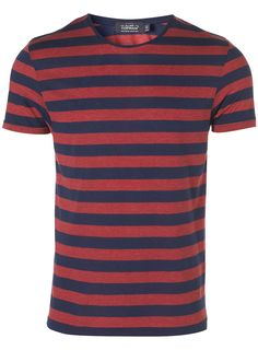 Burgundy and Navy Stripe Crew #Topman