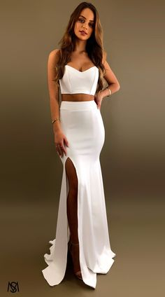 Tight Prom Dresses, Prom Dresses Two Piece, Pretty Prom Dresses, Homecoming Dresses, Cute Dresses, Evening Dresses, Two Piece Dress, White Formal Dresses, Fashion Clothes