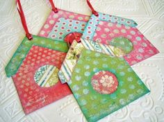 Bird House Gift Tags rosy pink and spring green by CatnipStudioToo, $5.50