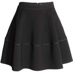 H&M Bell-shaped skirt ($32) ❤ liked on Polyvore featuring skirts, black, circle skirt, zipper skirt, h&m skirts, knee length circle skirt and circular skirt