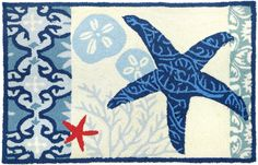 Italian Tile with Starfish Rug, Beach Decor Rugs. Love this rug for my entry.