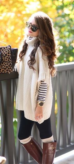Looks warm and cozy. I have a striped shirt just like the one under the sweater World Tour Turtleneck Poncho Sweater Mode Outfits, Casual Outfits, Fashion Outfits, Womens Fashion, Fashion Trends, Fashion 2014, Casual Attire, Fashion Styles, Runway Fashion