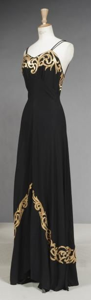 Long Black Crepe Evening Dress Decorated with Gold Leather Scrolls, French, c. 1935-1938.