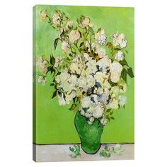 Print of Van Gogh's Roses 1890 on canvas.   Product: Wall artConstruction Material: Cotton canvas and wood...