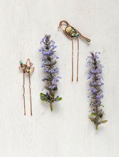 Bird Flower Hair forks copper hair sticks modern by IrenAdler