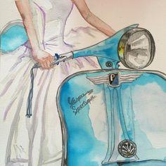 Ride on Vespa, almost finished, but not yet. #watercolor #watercoloring #art #alpaqui #artwork #artinprocess #artinprogress #vespa #vespalovers #gown #motorcycle #turquoise #ride #vespamania #vespagram #pentel #pentelart