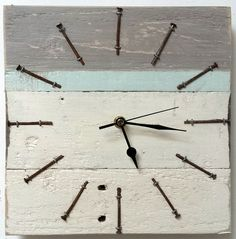 OOAK original driftwood clock wooden wood upcycle reclaimed rustic shabby chic