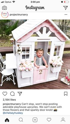 LOVE the scalloped trim, glass knob, #2, and dinner bell! #gardenplayhouse