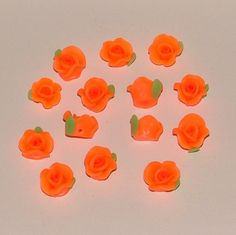 Bright Orange Polymer Clay Rose Flower Beads 10mm - pinned by pin4etsy.com