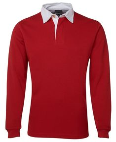 JB's RUGBY TOP RED/WHITE SZ S - 5XL - 3R - JBS WEAR Side Split, Rugby, Knitted Fabric, Work Wear, Red And White, Hoodies, Knitting, Contrast, Cuffs