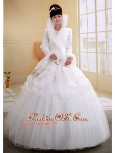 Ball Gown High-neck Neckline Long Sleeves Wedding Dress With Imitated Feather Flowers Decorate Organza and Tulle- $239.59  http://www.fashionos.com  http://www.facebook.com/quinceaneradress.fashionos.us  A long sleeves with fur details on the cuff give the dress a warm feeling, It is a best choice for winter wedding ceremony. For the skirt, the inner floor-length skirt is tulle tiers with clear pleats while the out short-skirt is organza with tasteful pick-ups with colored flowers on it.