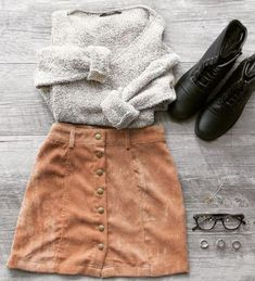 19 Fashionable outfit Ideas for the school - Stil Mode - Fashion Outfits Fall Winter Outfits, Autumn Winter Fashion, Summer Outfits, Fall Skirt Outfits, Winter Outfits With Skirts, School Skirt Outfits, Chic Fall Fashion, Cute Dress Outfits, Pretty Outfits