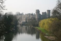 Warwick Castle, Warwickshire, England.  It is situated on a bend of the Avon River.  The castle was built by William the Conqueror in 1068.