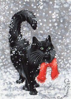 Original Aceo Black Cat Winter Snow Scarf by Artist Irina Garmashova ♥•♥•♥Love♥•♥•♥