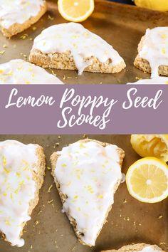 Glazed Lemon Poppy Seed Scones #scones #lemon Gourmet Recipes, Baking Recipes, Dessert Recipes, Brunch Recipes, Breakfast Recipes, Cheesecake Desserts, Cheesecake Strawberries, Lemon Poppy Seed Scones, Strawberry Desserts