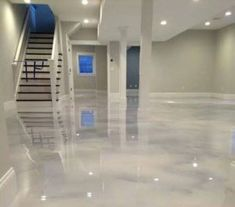Counter top diy or basement flooring- Pearl White Epoxy (Concrete) Floor Epoxy Concrete Floor, Metallic Epoxy Floor, Painted Concrete Floors, Plywood Floors, Concrete Lamp, White Concrete, Floating Hardwood Floor, Epoxy Floor Designs, Finished Concrete Floors