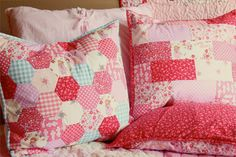 Children At Play Hexagon Patchwork Pillow 18 Inch by liltulip
