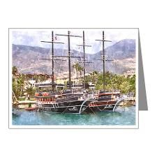 2 Master ship in watercolor Note Cards