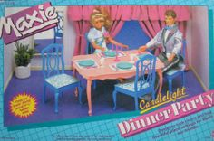 "MAXIE CANDLELIGHT DINNER PARTY Playset CANDLE LIGHT Set For Barbie & 11-1/2"" Fashion Dolls (1986 Hasbro) by Hasbro. $289.99"
