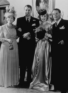 Ronald Reagan and Jane Wyman on their wedding day with Reagan's mother Nelle and father Jack January 26, 1940