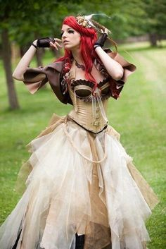 Steampunk Brown Corset Wedding Dress