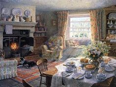 painting of English country room: Sunday Tea-Time by Stephen Darbishire. Gifs, Summer Painting, Of Wallpaper, Stretched Canvas Prints, Find Art, Framed Artwork, My Dream Home, Tea Time, Giclee Print