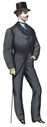 Victorian Men  Morning Promenade Costume:  Features a suit of grey Scotch stripe; the coat is the single-breasted university style with short turnovers closing by two buttons on the chest. The edges are plain and there are pockets in the back pleats. The sleeves have cuffs and two buttons at the seams. The suit includes a single-breasted university waistcoat and trousers.