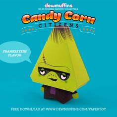 Frankenstein Flavor  Dewmuffins Candy Corn Citizens paper toy available for download at www.dewmuffins.com/papertoy. #dewmuffins #candycorn #papertoy #halloween #papercraft