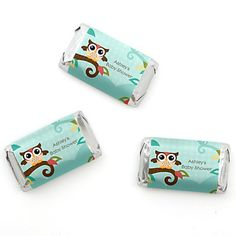 Owl - Look Whooo's Having A Baby - Personalized Baby Shower Mini Candy Bar Wrapper Favors - 20 ct | BigDotOfHappiness.com