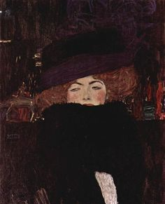 Lady with Hat and Featherboa, 1909 - Gustav Klimt Canvas Online, Close My Eyes, Art Database, Oil Painting Reproductions, Gustav Klimt, Western Art, My Ride, Top Artists, Art History