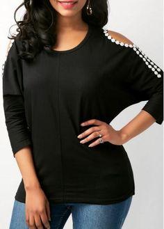 #xmas #Christmas #rotita.com - #unsigned Cold Shoulder Patchwork Round Neck Black T Shirt - AdoreWe.com