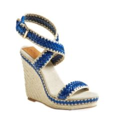 ✨NIB✨ Tory Burch Leather Espadrille Wedge Sandals New in box! Authentic Tory Burch leather Espadrille wedge sandals. Woven leather straps with a rubber sole. 4.5 inch wedge heel with 1.5 inch platform. Adjustable buckle closure. Box included. I don't model shoes, so please do not ask. NO TRADES. Tory Burch Shoes Wedges
