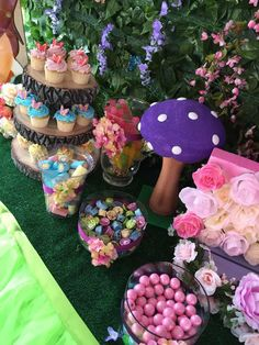 Pastel sweets at a Tinkerbell birthday party! See more party ideas at CatchMyParty.com!