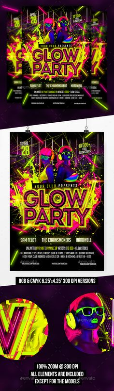 Glow Party Flyer Template  — PSD Template #green #uv • Download ➝ https://graphicriver.net/item/glow-party-flyer-template/18553043?ref=pxcr