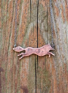 Copper Fox Necklace. Wolf Necklace. Totem Necklace. Spirit Animal. Metal Animal Necklace. Wildlife. Fox Silhouette Necklace. Metalwork.