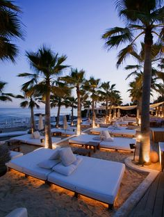 Sleep under the stars on these under lit beds at this Nikki Beach resort in Marbella, Spain Romantic Places, Beautiful Places To Travel, Beautiful Beaches, Beach At Night, The Beach, Dream Vacations, Vacation Spots, Marbella Spain, Marbella Malaga